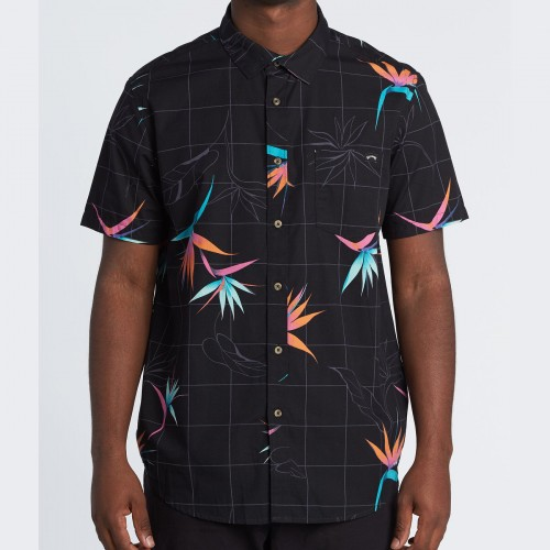 Camisa Billabong Sundays Floral Black Orange