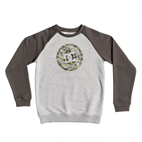 Sudadera DC Circle Star Crew Raglan Boy Grey Heather/Dark Olive/Camo