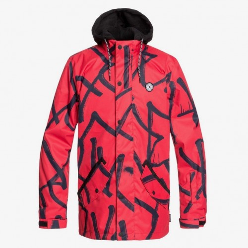 Chaqueta de snowboard DC Union Racing Red Hieroglyphic Print