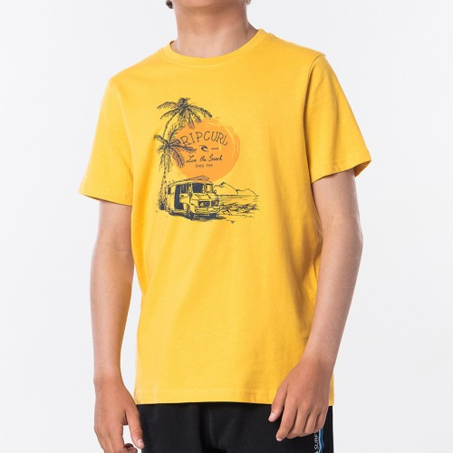 Camiseta Rip Curl Coche Tee Boy Washed Yellow