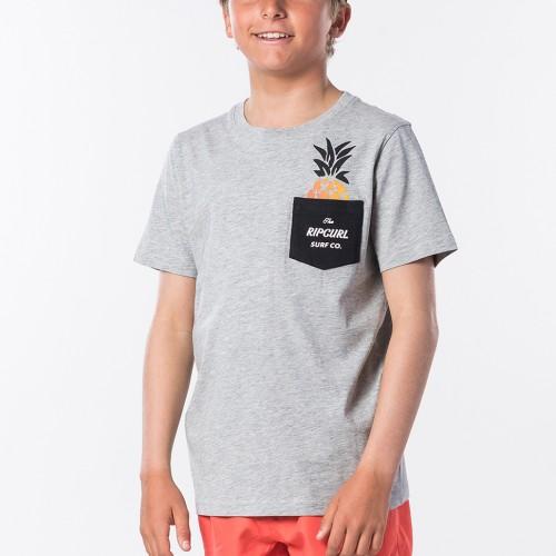 Camiseta Rip Curl Fashion Pocket Tee Boy Cement Marle
