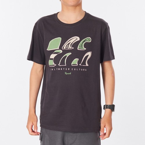 Camiseta Rip Curl Salt Water Culture Fin Tee Boy Washed Black