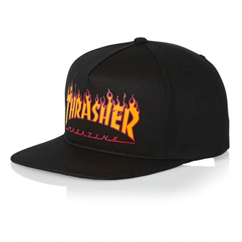 Gorra Thrasher Flame Logo Structured Snapback Black