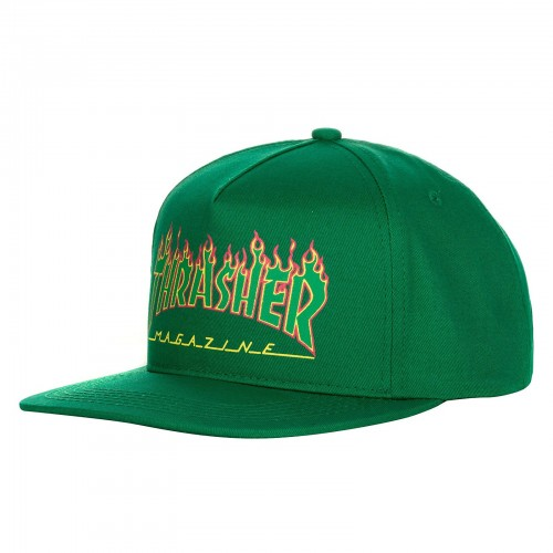 Gorra Thrasher Flame Logo Structured Snapback Green