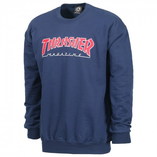 Sudadera Thrasher Outline Logo Crew Navy