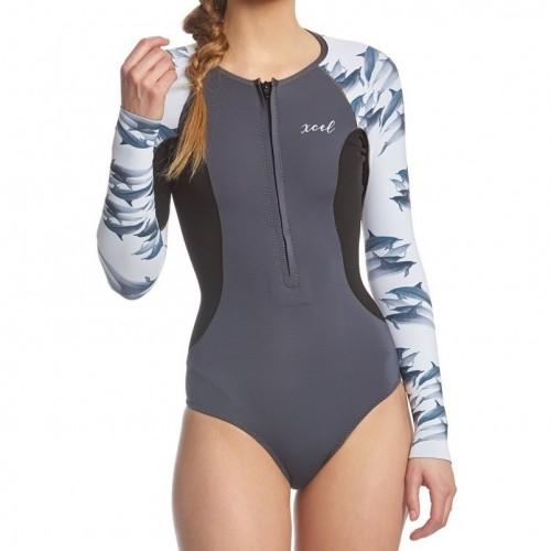 Xcel 1/5mm Ocean Ramsey LS CZ Spring Suit Gunmetal/Dolphin