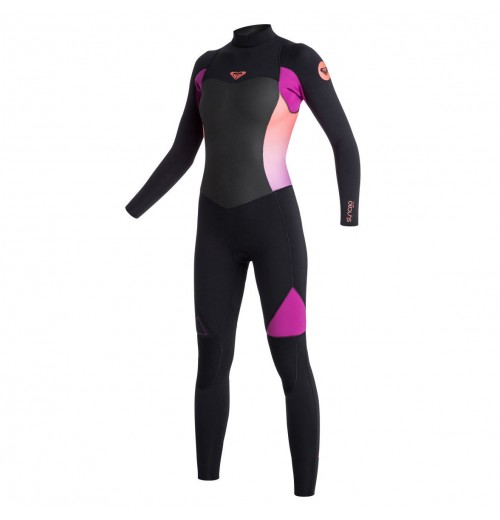 Neopreno de surf Roxy Syncro GBS 4/3mm Back Zip Black Violet Coral