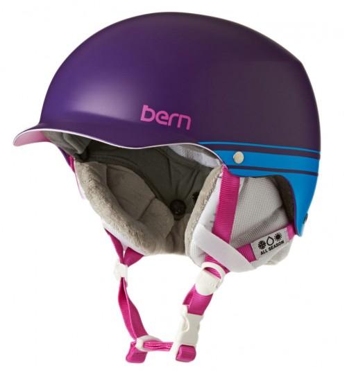 Casco de snowboard Bern Muse Eps Satin Purple Retro Graphic W/White Liner