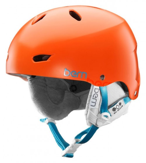 Casco de snowboard Bern Brighton Eps Satin Orange W/White Liner