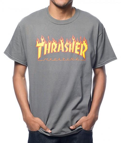 Camiseta Thrasher Flame Logo T-Shirt Grey