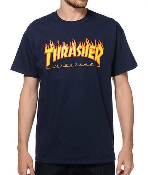 Camiseta Thrasher Flame Logo T-Shirt Navy
