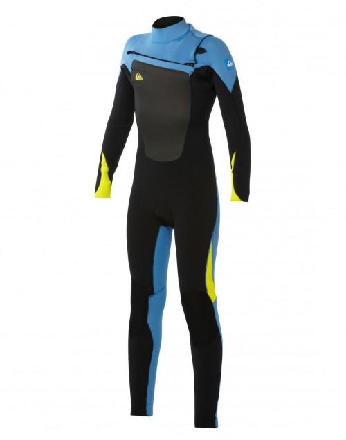 Neopreno de surf Quiksilver Syncro GBS Fullsuite 3/2 mm Chest Zip Black-Blue-Yellow