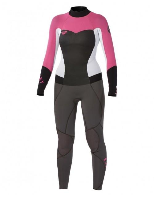 Neopreno de surf Roxy Syncro GBS 3/2 mm Fullsuit Back Zip Graphite-White-Pink-Black