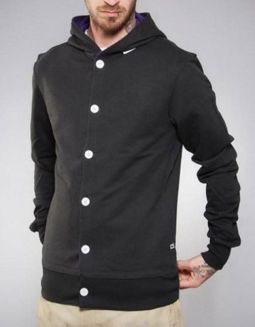 Sudadera Makia Button Up Hooded Sweatshirt Black