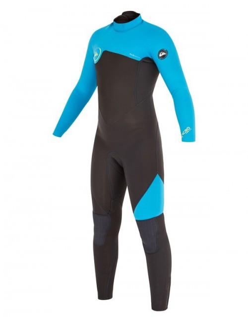 Neopreno de surf Quiksilver Syncro Boy 3/2 mm Back Zip Flatlock Graphite/Cyan