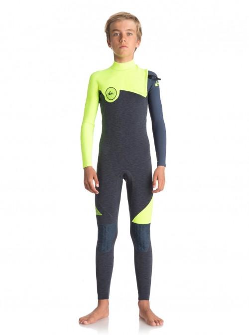 Neopreno de surf Quiksilver Highline Zipperless 4/3 Heather Slate/Safety Yellow
