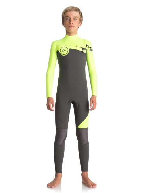 Neopreno de surf Quiksilver Syncro Series 4/3 Chest Zip GBS Jet Black/Safety Yellow/Gun