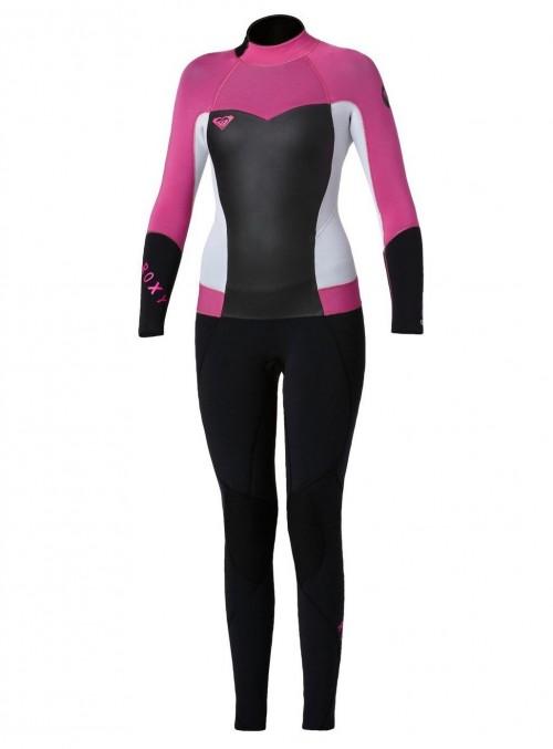 Neopreno de surf Roxy Syncro 3/2 mm Back Zip Flatlock Black-White-Pink
