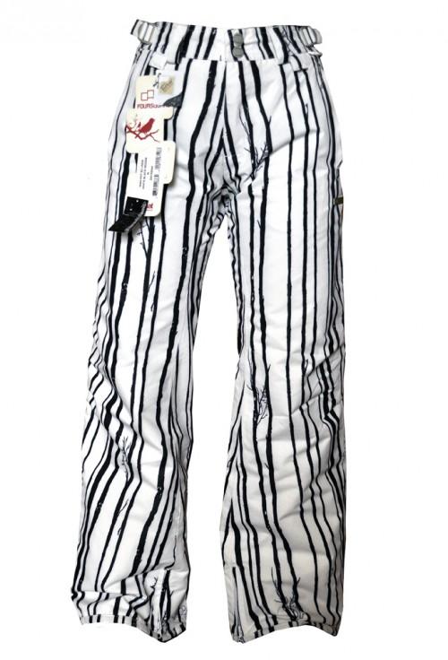 Pantalones de snowboard Foursquare Linda Pants White Black Woods