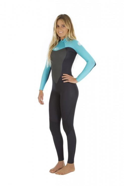 Neopreno de surf Rip Curl Omega Women's GB STMR 4/3 mm Back Zip Turquoise
